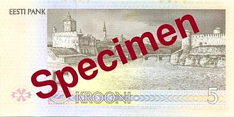 5 krooni - Reverse of the 5 krooni bill