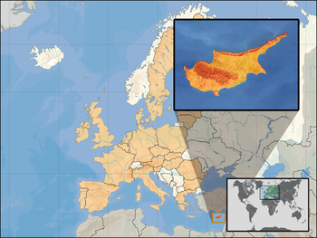 Location of Cyprus within Europe and the Europ...