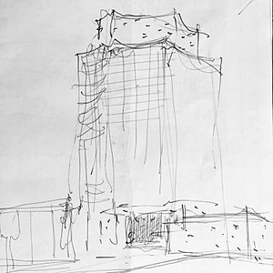 Electra Building - Early sketch of BC Electra Building by Charles Edward Pratt