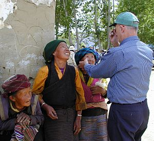 Creswell Eastman - Eastman examining Tibetan women for eye disorders in Tibet Autonomous Region May 2000