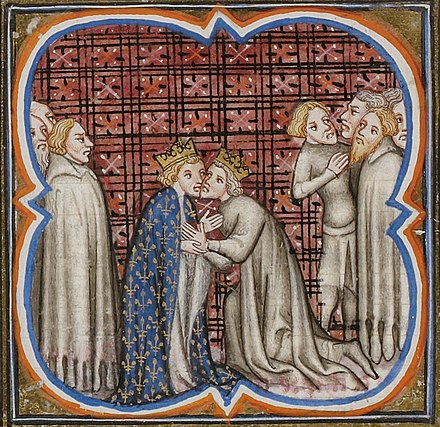 Edward I (right) giving homage to Philip IV of France (left). As Duke of Aquitaine, Edward was a vassal of the French king. Eduard+Filip.jpg