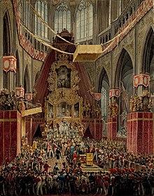 Die Krönung Kaiser Ferdinands I. zum böhmischen König im Veitsdom zu Prag 1836, Gemälde von Eduard Gurk (Quelle: Wikimedia)