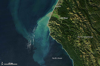 Eel River (California) - Sediment-laden water in the Eel River after winter storms. NASA satellite image, 2012
