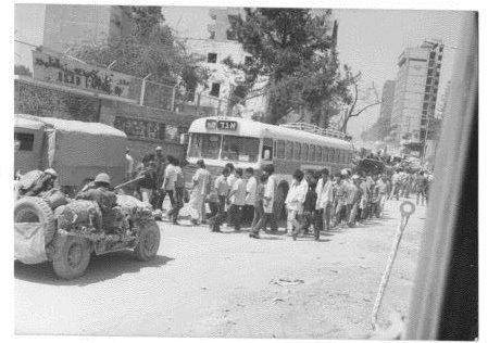 Egged bus which was recruited to transport prisoners from the hospital of Sidon in lebanon 1982
