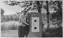 Eleanor Roosevelt and Nancy Cook shoot pistols at Chazy Lake, New York - NARA - 197228.jpg