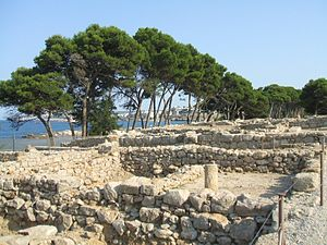 Colonies in antiquity - Ruins of a peristyle home from the Greek period of Empúries, Catalonia, Spain