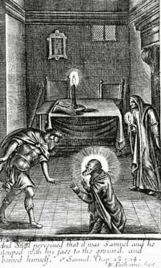 Necromancy - Illustration portraying a scene from the Bible wherein the Witch of Endor, frightened, unsuccessfully tried to use a necromantic ritual to conjure the spirit of Samuel at the behest of Saul; from the frontispiece of Sadducismus Triumphatus (1681) by Joseph Glanvill.