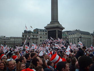 England national rugby union team - Celebrations at Trafalgar Square after England's 2003 World Cup victory.