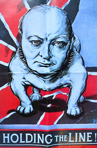 "Poster depicting Winston Churchill as an ""English bulldog"" English WW2 Propaganda poster depicting Winston Churchill as a bulldog with title Holding the line!.jpg"