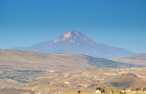 Mount Erciyes - Distant view of Mount Erciyes, as seen from Göreme to the west