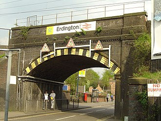 Erdington - The bridge at Erdington, showing the old LMS lettering.
