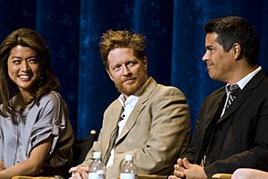Esai Morales - Morales (right) with Grace Park (left) and Eric Stoltz (center)
