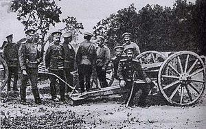 Pyotr Nikolayevich Wrangel - Wrangel and Prince Sidamon-Eristavi at a captured German cannon in 1914