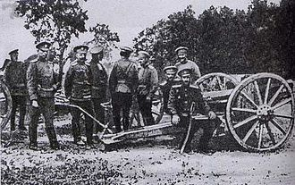 Pyotr Wrangel - Wrangel and Prince Sidamon-Eristavi at a captured German cannon in 1914