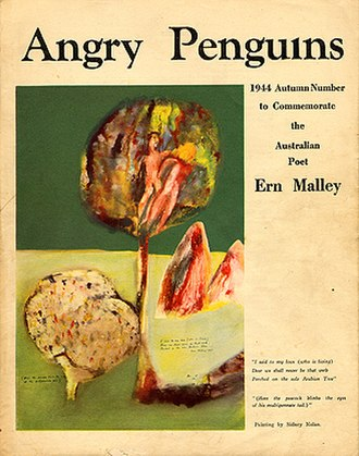 "Ern Malley - The Ern Malley edition of Angry Penguins. Featured on the cover is a Sidney Nolan painting inspired by lines from Ern Malley's poem Petit Testament, which are printed on the cover, bottom right: ""I said to my love (who is living) / Dear we shall never be that verb / Perched on the sole Arabian Tree / (Here the peacock blinks the eyes of his multipennate tail)"". The painting is now held at the Heide Museum of Modern Art."