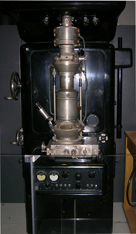 Electron microscope constructed by Ernst Ruska in 1933 Ernst Ruska Electron Microscope - Deutsches Museum - Munich-edit.jpg