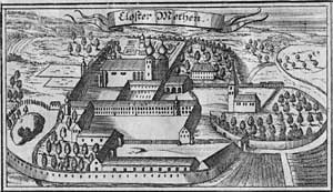 "Metten Abbey - Engraving of Metten Abbey from the ""Churbaierisches Atlas"" of Anton Wilhelm Ertl, 1687"