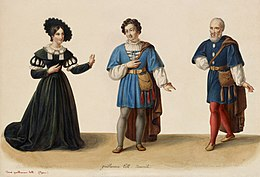 Eugène Du Faget - Costume designs for Guillaume Tell - 1-3. Laure Cinti-Damoreau as Mathilde, Adolphe Nourrit as Arnold Melchtal, and Nicolas Levasseur as Walter Furst.jpg