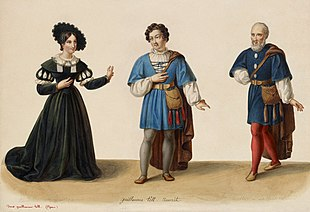 Costume designs for Guillaume Tell, with Laure Cinti-Damoreau as Mathilde, Adolphe Nourrit as Arnold Melchtal, and Nicolas Levasseur as Walter Furst (Source: Wikimedia)