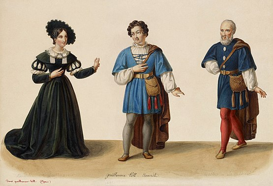 Costume designs by Eugene Du Faget for the original production of William Tell: Adolphe Nourrit in the middle, with Laure Cinti-Damoreau left and Nicolas Levasseur right. Eugene Du Faget - Costume designs for Guillaume Tell - 1-3. Laure Cinti-Damoreau as Mathilde, Adolphe Nourrit as Arnold Melchtal, and Nicolas Levasseur as Walter Furst.jpg