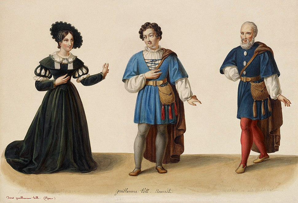 Eugène Du Faget - Costume designs for Guillaume Tell - 1-3. Laure Cinti-Damoreau as Mathilde, Adolphe Nourrit as Arnold Melchtal, and Nicolas Levasseur as Walter Furst