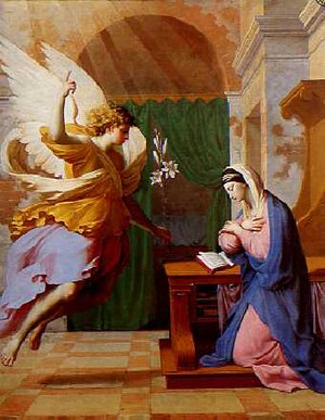 Mary, mother of Jesus - The Annunciation by Eustache Le Sueur, an example of 17th-century Marian art. The Angel Gabriel announces to Mary her pregnancy with Jesus and offers her White Lilies.
