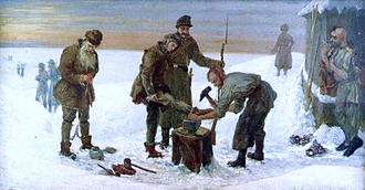 Katorga - Aleksander Sochaczewski's painting depicting the applying of shackles in the Siberian katorga camps.
