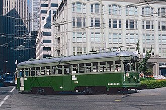 San Francisco Transbay Terminal - During the 1987 San Francisco Historic Trolley Festival, streetcar 578, formerly of Kobe, Japan, turns into the Transbay Terminal loop in scheduled service on the F-Market line.