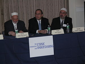 Marc Schneier - Sheikh Omar Abu-Namous, Rabbi Marc Schneier, and Imam Samer Alraey opening the U.S. national gathering of imams and rabbis on November 7, 2007, sponsored by Schneier's Foundation for Ethnic Understanding and the Islamic Cultural Center of New York in New York City