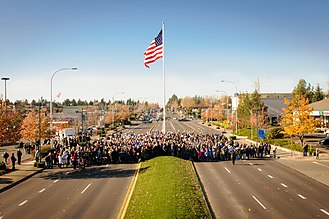 Federal Way, Washington - Dedication of Downtown Flag and Veterans Way in November 2014.