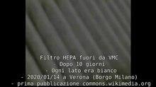 File:Filtro HEPA protetto da prefiltro estratto dal VMC - Dopo 10 giorni - Ogni lato era bianco (lato nero è smog fine) - 2020 01 14 a Verona (Borgo Milano) by Paolo Villa.webm