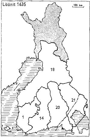 Oulu Province - Provinces of Finland 1634: 1: Turku and Pori, 14: Nyland and Tavastehus, 18: Ostrobothnia, 20: Viborg and Nyslott, 21: Kexholm
