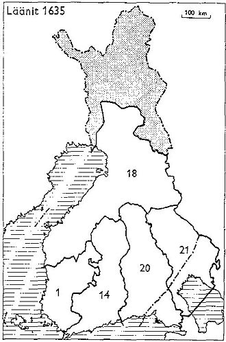 Kexholm County - Provinces of Finland 1634: 1: Turku and Pori, 14: Nyland and Tavastehus, 18: Ostrobothnia, 20: Viborg and Nyslott, 21: Kexholm