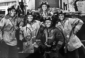 Firehouse (TV series) - From left: Bill Overton, James Drury, Brad David (in back), Richard Jaeckel (in front), Michael DeLano