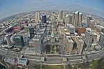 Fisheye shot of St. Louis from the Gateway Arch (6852507615).jpg