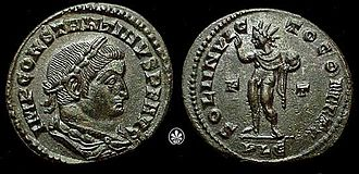 Persecution of pagans in the late Roman Empire - Early coin of Constantine commemorating the pagan cult of Sol Invictus