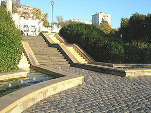 Parc de Belleville - The parc de Belleville fountain in Paris.