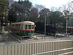 Former Nagoya City Tram and Japan National Railway trains in front of Nagoya City Science Museum.JPG