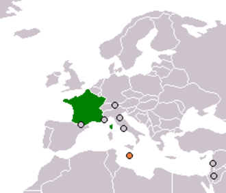French occupation of Malta - Map of Malta (orange) and France (green)