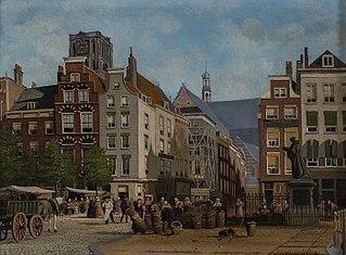 Gezicht op de Grotemarkt met standbeeld van Erasmus