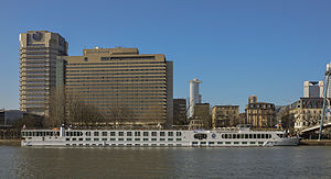 Frankfurt-Germany Intercontinental hotel with river Main and ship River Princess.jpg