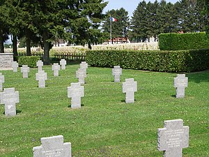 Chemin des Dames - German (foreground) and French (background) cemeteries at Cerny