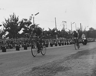 1953 Tour de France - Fritz Schär taking his second win of the race on stage two in Liège, Belgium