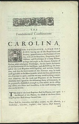 Fundamental Constitutions of Carolina - First page of the Fundamental Constitutions of Carolina.