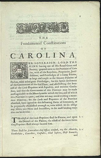 Cassique - First page of the Fundamental Constitutions of Carolina