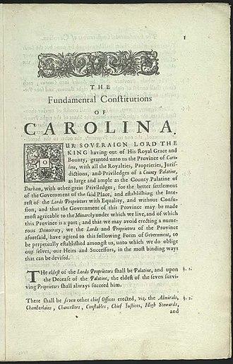 Fundamental Constitutions of Carolina - First page of the Fundamental Constitutions of Carolina.