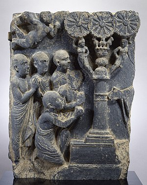 Four Noble Truths - Image: Gandharan Expounding the Law Walters 2551