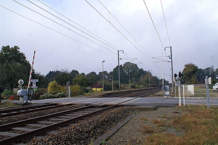 La gare et son passage à niveau en 2009.