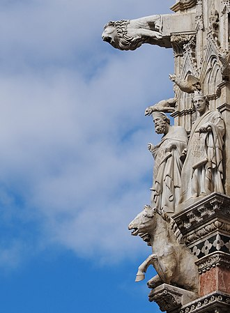 Siena Cathedral - Gargoyles and Saints on façade.