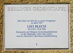 Photo of Leo Blech white plaque